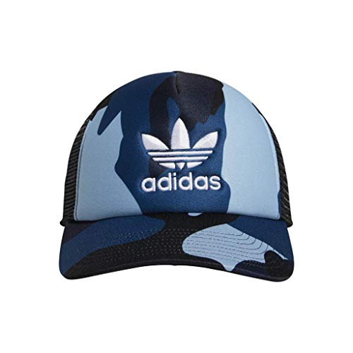 Foam Trucker Hat Cap - adidas Men's Originals Foam Trucker Cap, Aop Camo Legend Marine/White, One Size