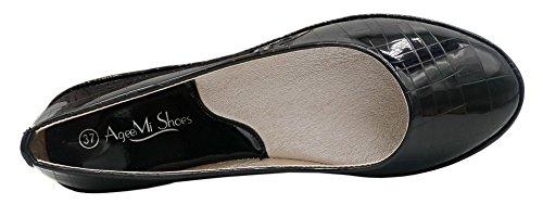 AgeeMi Shoes Damen Rund Zehe Geschlossene Ballerinas Flats Klassische Schuhe Schwarz