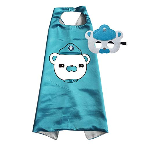 Octonauts Cape and Mask Costumes Kids Birthday Party Shellington Kwazii Barnacles Dashi Peso Cosplay (Barnacles)