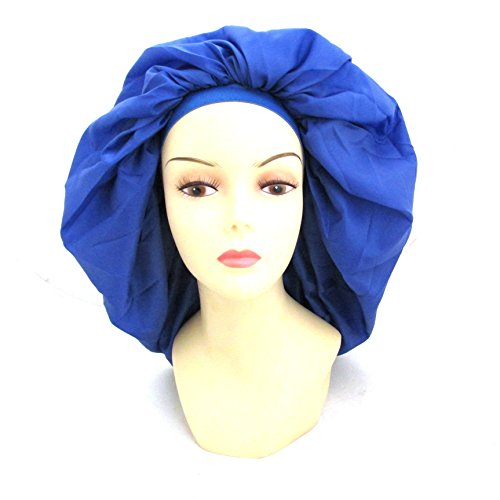 Dream Super Jumbo Night & Day Cap - Blue, Satin, fabric, elastic band, cotton, holds hair in place, large, extra large, one size fits all, sleep cap, comfortable, soft material