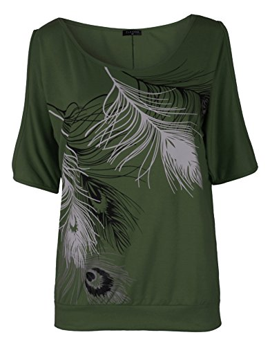ck Feather Print Shirt Casual Cutout Sleeve Top Blouse(X-Large),Army Green (6 Womens Designer Blouse)