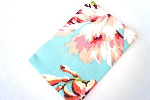 Floral Fabric Pocket Size Travel Tissue Holder in Blue and Pink