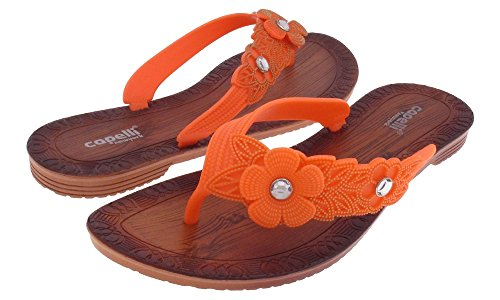 Capelli New York Ladies Fashion Flip Flops With Flower And Gem Trim Coral AG0pdxt