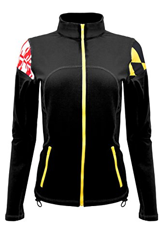 Twin Vision Activewear Maryland Terrapins Yoga Track Jacket Black (X-Large)