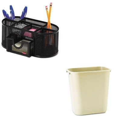 KITRCP295600BGROL1746466 - Value Kit - Rubbermaid Deskside Plastic Wastebasket (RCP295600BG) and Rolodex Mesh Pencil Cup Organizer (ROL1746466)