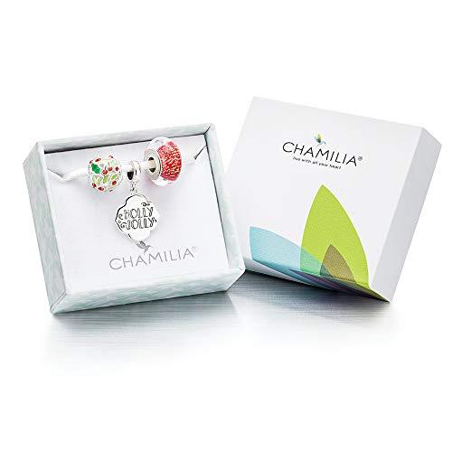 Jolly Holly Charm - Chamilia 2018 Holly Jolly 3 Beads Gift Set - Light Siam Swarovski Crystal, Murano Glass, and Multi Enamel Charm, One Size