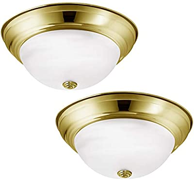 Luxrite LR25175 (2-Pack) 18W 13-Inch LED Flush Mount Ceiling Light, Gold Dome, Frosted Glass, Dimmable, 4000K Cool White, 1000 Lumens, ENERGY STAR-Qualified and UL Listed