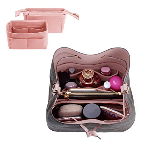 Purse Organizer,Bag Organizer,Insert purse organizer with 2 packs in one set fit LV NeoNoe No Series perfectly (Brush Pink)
