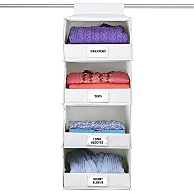 The G.U.S No-Sag Hanging Deluxe 4-Shelf Closet Organizer With Front Flip-Down Flap, Ecru/Beige, Set of 3