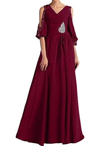 Partykleider Abendkleider Bodenlang mit Weinrot Damen Neu Wunderschon 2017 Chiffon Navy Mutterkleider Ivydressing Arm YBg8wnR