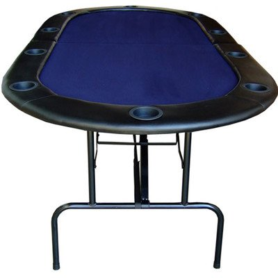 82'' Foldable Texas Hold'em Poker Table Table Top Color: Blue by JP Commerce