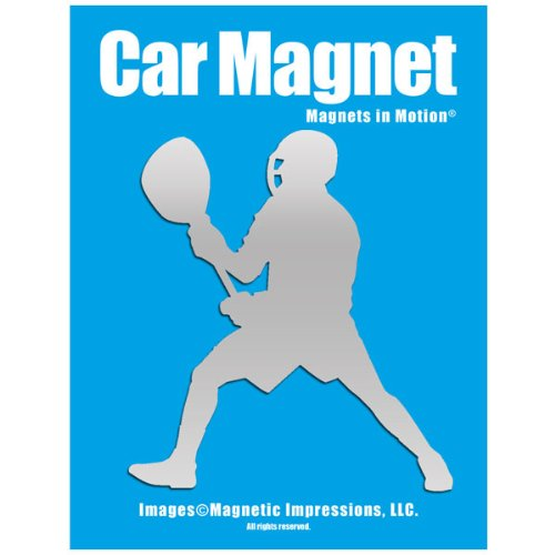 Lacrosse Goalie Male Car Magnet Chrome