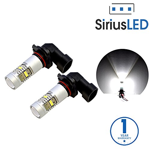 SiriusLED Extremely Bright 2835 Chipset Projection 1400 Lumen LED Fog Light Bulb Pure White Size H10 9145 9040 Pack of 2