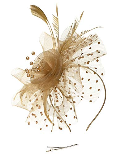 Fascinators Headband Tea Party Hats for Women Royal Wedding Hat Feather Mesh Hair Clip (1-Khaki)
