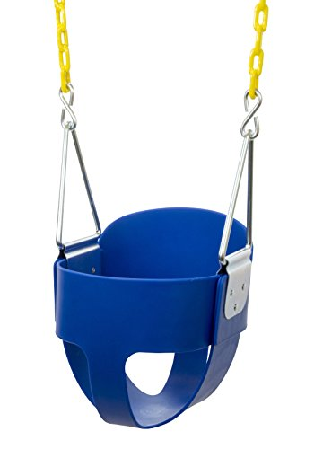 High Back Full Bucket Toddler Swing Seat with Plastic Coated Chains - Swing Set - Blue (Swing Sets For Babies)