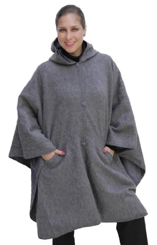Hooded Alpaca Wool Cape Lined Hood Poncho, Gray by Putuco
