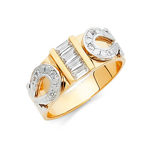 Wellingsale Men's Solid 14k Two 2 Tone White and Yellow Gold Polished CZ Cubic Zirconia