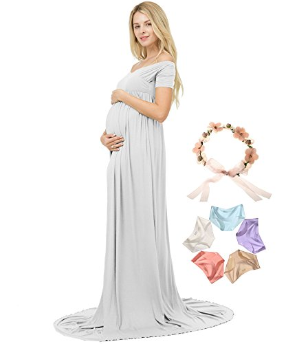 V Sannyway Neck Maternity Photoshoot Photography Dress MaxiGown Shoulder Sleeve Off Grey Short fqwtFqnWxr