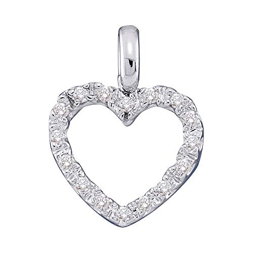 The Diamond Deal 14kt White Gold Womens Round Diamond Heart Pendant 1/10 Cttw