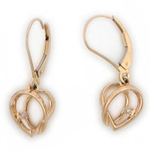 10k Solid Yellow Gold Real Diamond Heart Earrings