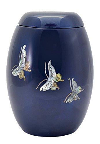 The Coffin Company La società di bara in fibra di vetro ceneri di cremazione urn- taglia adulto – (blu con farfalla design)