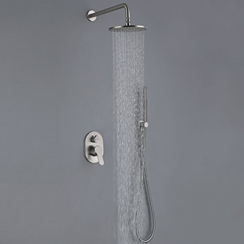 (Luxury Rain Shower System Wall-Mounted Faucet With 8-inch Brass Shower Showerhead,Brushed Nickel)