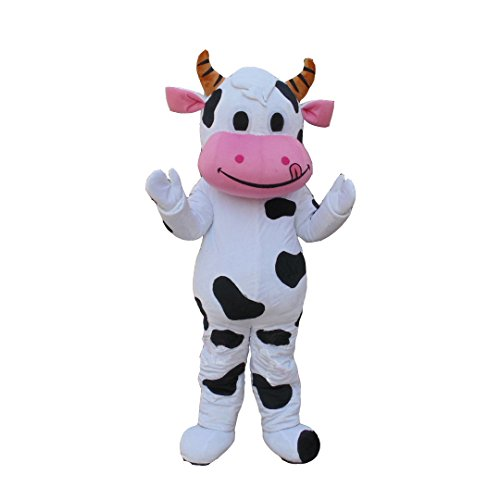 Milk Cow Mascot Costume Animal Cow Carnival Fancy Dress Outfit For Halloween (Free Size(160CM-175CM)) ()
