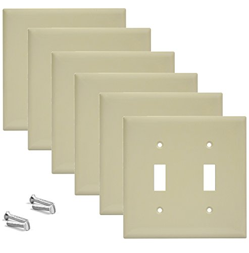 (Pack of 6 Wall Plate Outlet Switch Covers by SleekLighting | Decorative Plastic Ivory Look | Variety of Styles: Decorator/Blank/Toggle/Duplex / & Combo | Size: 2 Gang Toggle)