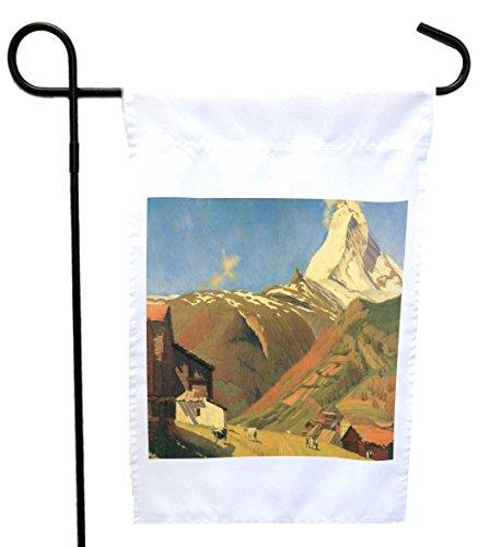 Rikki Knight Felix Vallotton Art View of Zermatt House or Garden Flag with 11 x 11-Inch Image, 12 x - Zermatt Images
