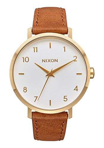 Nixon Women's Arrow Leather Japanese-Quartz Watch with Stainless-Steel Strap, Brown, 17.5 (Model: A10912621-00)