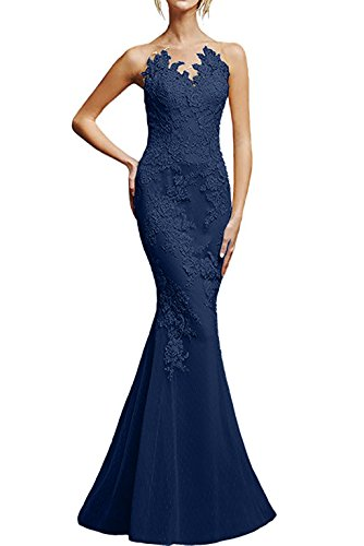 Spitze Figurbetont Lang Wunderschoen Champagner Promkleider Abendkleider Marie Braut Partykleider Meerjungfrau La Blau Navy 4fwZIx