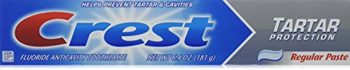 Crest Fluoride Toothpaste, Tartar Protection, Regular 6.40 oz (Pack of 3)