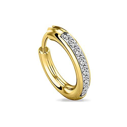(Diamond Scotch Cubic Zirconia Seven Stone Hoop Piercing Nose Ring Stud Ring 14K Yellow Gold Over (20 Gauge))