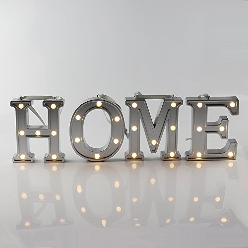 Hot Sale Small Alphabet LED Letter Lights, Keepfit Light Up Silver Plastics Letters H O M E Combination Standing Hanging for Home Party Bar Wedding Decoration -