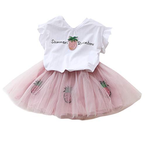 2Piece Toddler Kids Baby Girl Outfits Set,Short Sleeve Pineapple Print T-Shirt Princess Tulle Tutu Dress Party Suit ()
