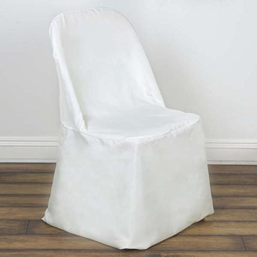 Efavormart 50pcs Ivory Linen Polyester Folding Chair Cover Dinning Chair Slipcover for Wedding Party Event Banquet ()