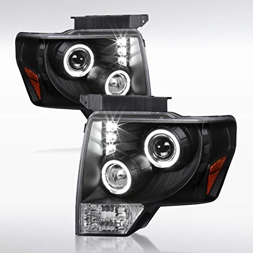 Autozensation For Ford F150 Pickup Dual Halo LED DRL Projector Headlights Black