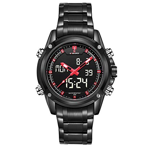 Readeel Military Sports Watches Men's Dual-display Multi-function Stainless Steel Mens Watches Red ()