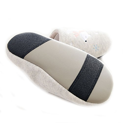 Zapatillas Miyang Winter Polar Bear Para Mujer Casa Invierno Zapatillas De Piel Cuero Suela Oscuro Gris