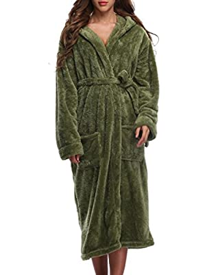 1 STMALL Women's Fleece Robe,Soft velvet, Long Hooded Bathrobe
