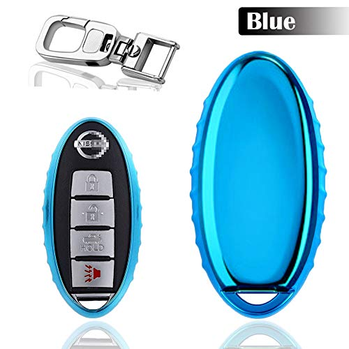 QBUC Car Key Cover for Nissan, 3 4 5 Button Case for Nissan Key Fob Cover with Key Chain, Replacement Key Fob for Infiniti Altima Maxima Murano and More (Blue)