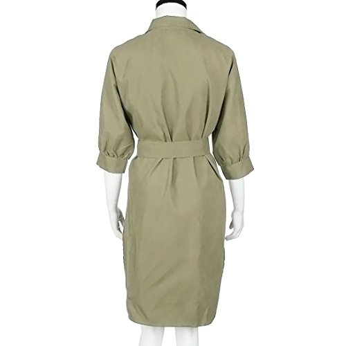 Women Dress Fashion Coper With Belt Sexy Khaki Solid Mini Lapel 5qwF1xYF