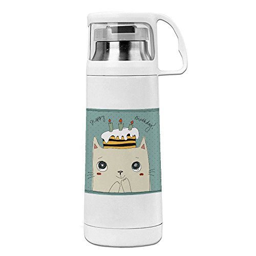 iMissY Happy Birthday Cute Cat Stainless Steel Vacuum Travel Mug With Handle Cup White Water Bottle (350ml)