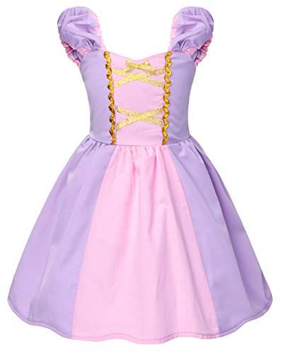 HenzWorld Rapunzel Dress Costume Girls Princess Cosplay Birthday Party Outfit 4T Purple Pink]()