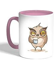 كوب سيراميك للقهوة، لون بنك، بتصميم رسوم كرتونية - بومة