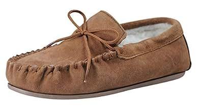 Nordvek Sheepskin Slippers Men - Warm Wool Lined Moccasin - Non-Slip Hard Sole # 422-100 [Chestnut] - AU 10 (UK 10, US 11)