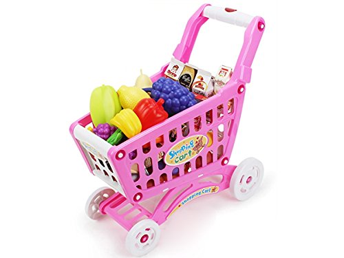 mini shopping cart with full grocery food playset toy for kids pink by new ebay. Black Bedroom Furniture Sets. Home Design Ideas