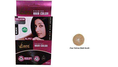 (Pack of 4 Vcare Shampoo Hair Color Black - 25ml + Free Vetiver Bath Scrub)