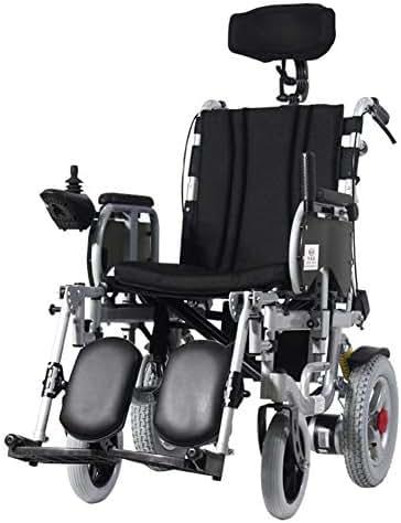 AVKL Wheelchair, Electric Wheelchair High Back Full Reclining Foldable Lightweight Elderly Disabled, Electric Wheelchair