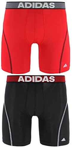 adidas Men's Sport Performance Climacool Midway Underwear (2-Pack), (Black/Grey)/(Real Red/Black), - Performance Thermal
